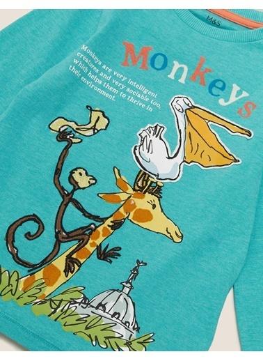 Marks & Spencer Monkey Baskılı Unisex T-Shirt Mavi